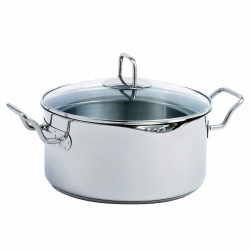 Norpro 645 Krona Stainless Steel 5 Quart Vented Cooking Pot with Straining Lid Perspective: front