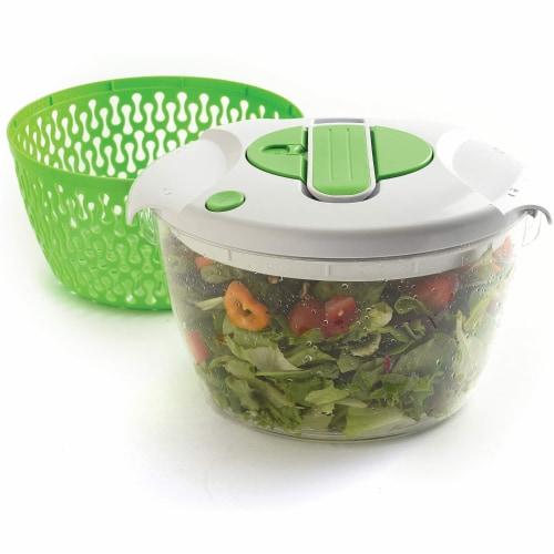Norpro 6.8 Quart Deluxe Removable Colander Strainer Herb Vegetable Salad Spinner Perspective: front