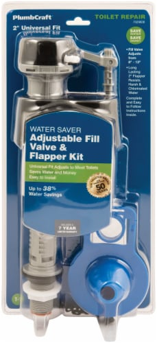PlumbCraft® Toilet Adjustable Fill Valve and Flapper Kit Perspective: front