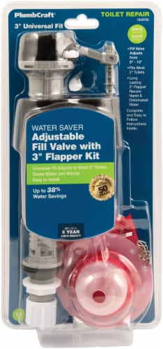 PlumbCraft® Water Saver Universal Toilet Fill Valve with Flapper Kit Perspective: front