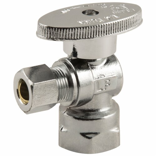 Plumbcraft® Fip Inlet OD Compression Outlet Turn Angle Valve - Silver Perspective: front