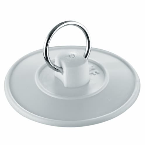 PlumbCraft® Basin Stopper with Vinyl Ring - White Perspective: front