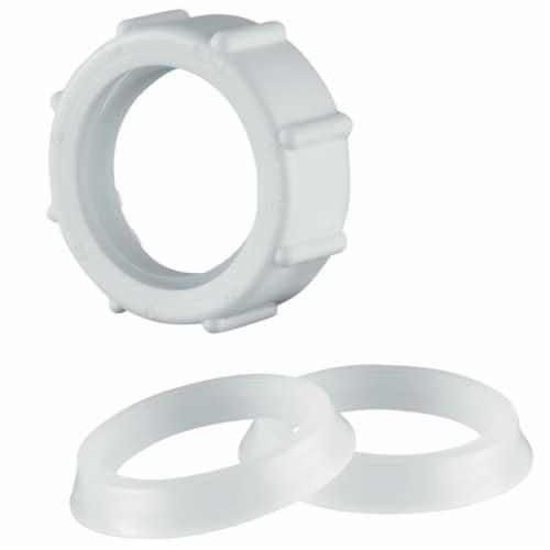 PlumbCraft® Plastic Slip Nut - White Perspective: front