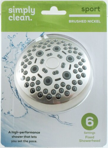 Waxman Spray Sensations 6-Position Fixed Shower Head - Brushed Nickel Perspective: front