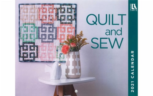 Leisure Arts Quilt & Sew Wall Calendar 2021 Perspective: front