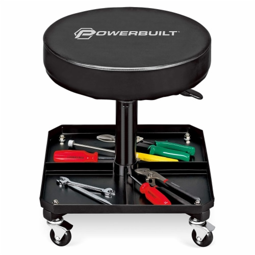 Powerbuilt Pneumatic Adjustable Height Roller Padded Stool Seat w/ Tool Tray Perspective: front
