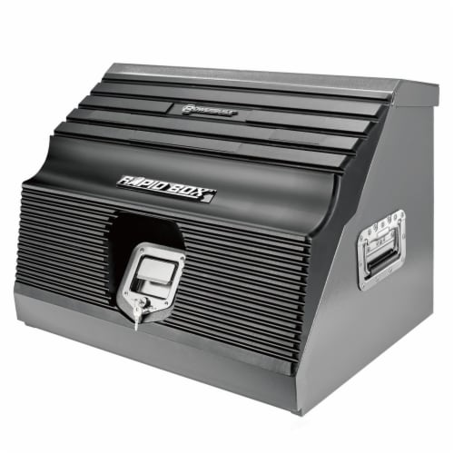 Powerbuilt Rapid Box Portable Slant Front Lockable Toolbox for Truck or Garage Perspective: front