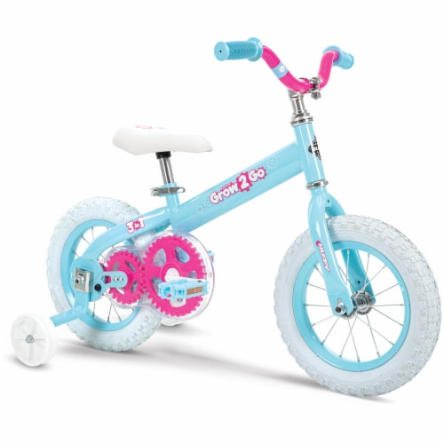 Huffy Grow 2 Go 3-in-1 Girls' Conversion Bicycle - Pink/Teal Perspective: front