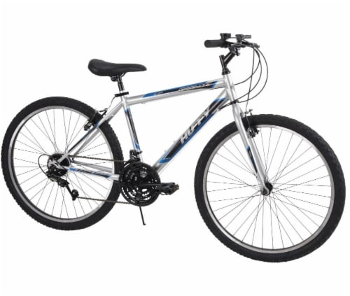Huffy Granite Men's Mountain Bicycle - Silver/Blue/Black Perspective: front