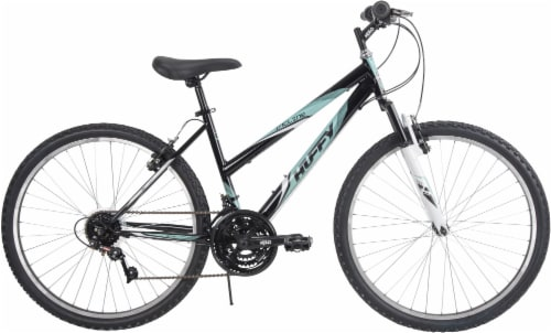 Huffy Ladies' Incline Mountain Bicycle - Gloss Black/Teal Perspective: front