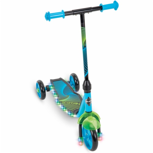 Huffy Neowave Electrolight 3-Wheel Scooter - Green/Teal Perspective: front