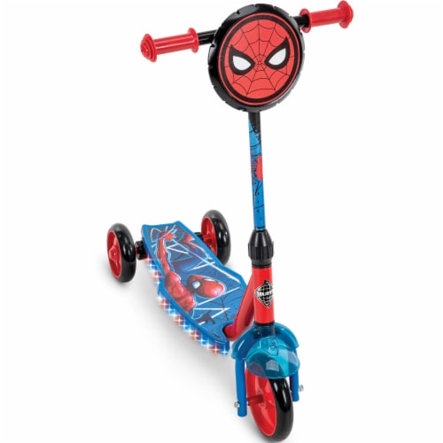 Huffy Electrolight Spider-Man 3 Wheel Scooter - Red/Blue Perspective: front