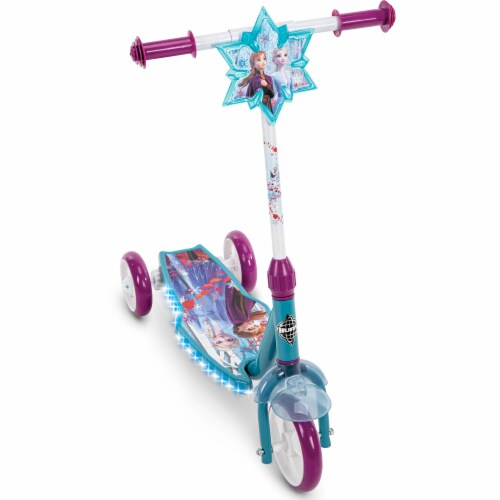 Huffy Frozen 2 Electrolight 3-Wheel Scooter - Blue/Purple Perspective: front