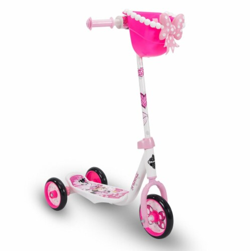 Huffy Disney Minnie Girls' 3-Wheel Scooter with Bin - White/Neon Pink Perspective: front