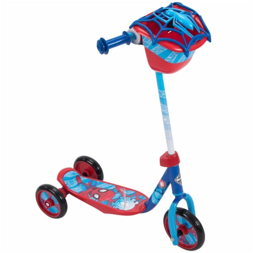 Huffy Marvel Spider-Man 3-Wheel Scooter with Bin - Dark Blue/Red Perspective: front