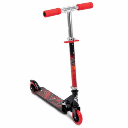 Huffy Star Wars Darth Vader Empire Kids Folding Inline Foot Kick Scooter, Black Perspective: front