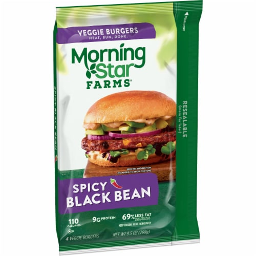 MorningStar Farms Frozen Veggie Burgers Spicy Black Bean Perspective: front