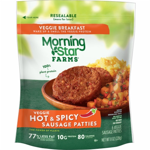MorningStar Farms Frozen Veggie Breakfast Sausage Patties Hot and Spicy Perspective: front