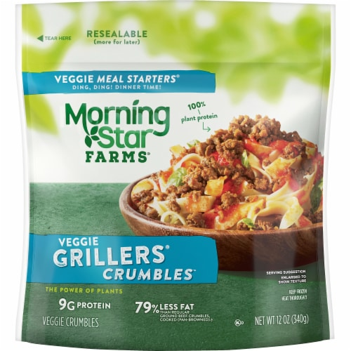 Morningstar Farms Meal Starters Veggie Grillers Crumbles Perspective: front