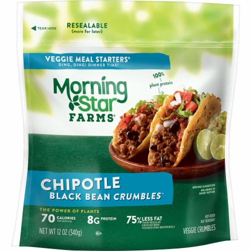 Morningstar Farms Veggie Meal Starters Chipotle Black Bean Crumbles Perspective: front