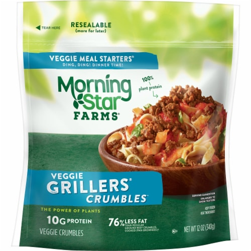 Morningstar Farms Veggie Grillers Crumbles Perspective: front