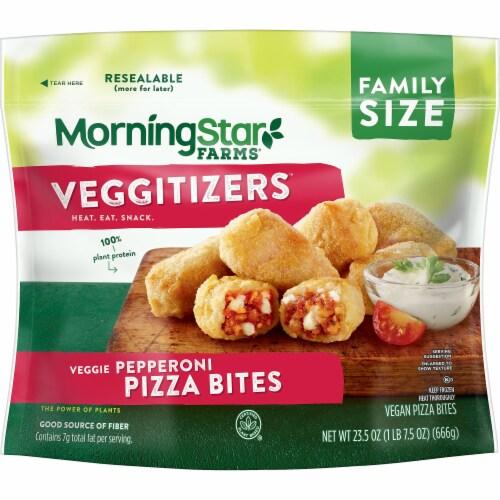 MorningStar Farms Veggitizers Frozen Veggie Vegan Pepperoni Pizza Bites Family Size Perspective: front