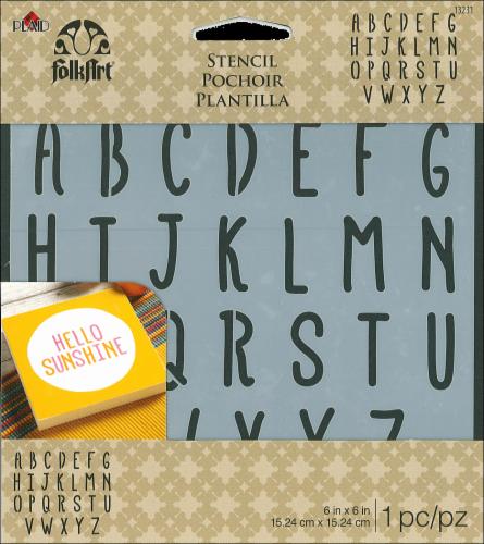Plaid® Folk Art Alphabet Stencil Perspective: front