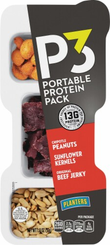 Planters P3 Chipotle Peanuts Sunflower Kernels and Original Beef Jerky Portable Protein Pack Perspective: front