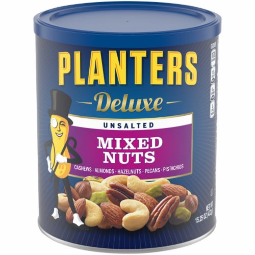 Planters Deluxe Unsalted Mixed Nuts Perspective: front