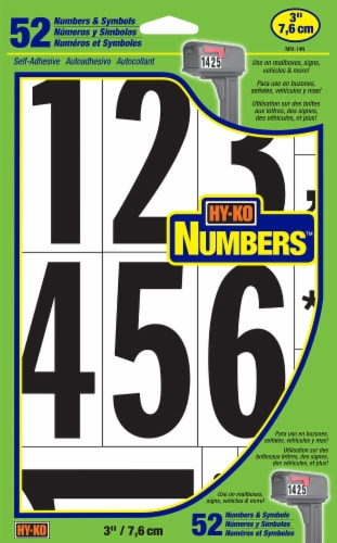 Hy-Ko Numbers - Black/White - 52 Pack Perspective: front