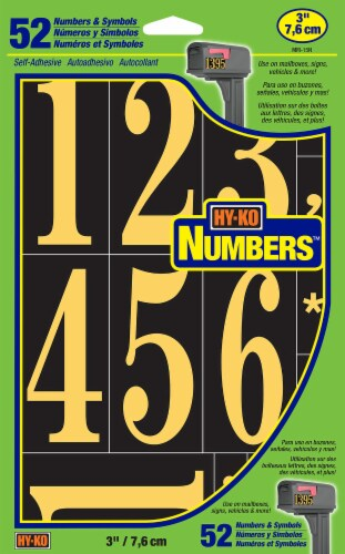 Hy-Ko Numbers - Black/Gold - 52 Pack Perspective: front