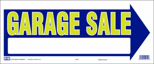 Hy-Ko Yellow & Blue Garage Sale Arrow Sign Perspective: front