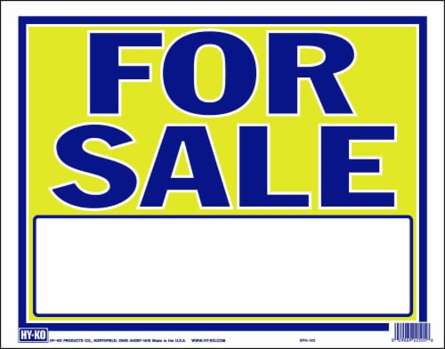 Hy-Ko For Sale Sign - Yellow/Blue Perspective: front