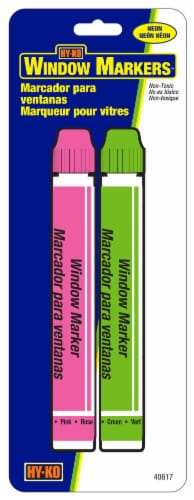 Hy-Ko Neon Window Markers - Green/Pink Perspective: front