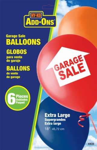 Hy-Ko Add-Ons Extra Large Garage Sale Balloons - 6 Pack Perspective: front