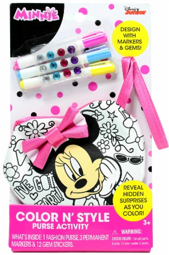 Disney Junior Minnie Mouse Color N' Style Purse Activity Perspective: front