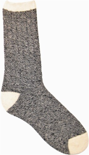 Amelia's Organic Legwear Women's Marled Body Crew Socks with Natural Tipping - Black Perspective: front
