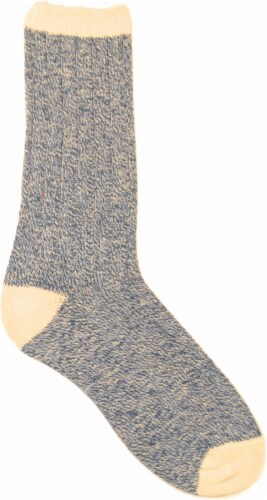 Amelia's Organic Legwear Women's Marled Body Crew Socks with Natural Tipping - Dark Blue Perspective: front