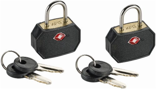 Lewis N. Clark® Travel Sentry® Mini Padlocks - 2 Pack - Black Perspective: front