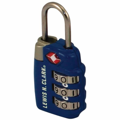 Lewis N. Clark Travel Sentry 3-Dial Combo Luggage Lock - Blue Perspective: front