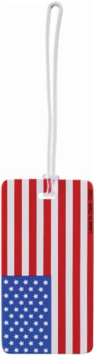 Lewis N. Clark American Flag Luggage Tag - Americana - 4.25 x 2.25 Inch Perspective: front