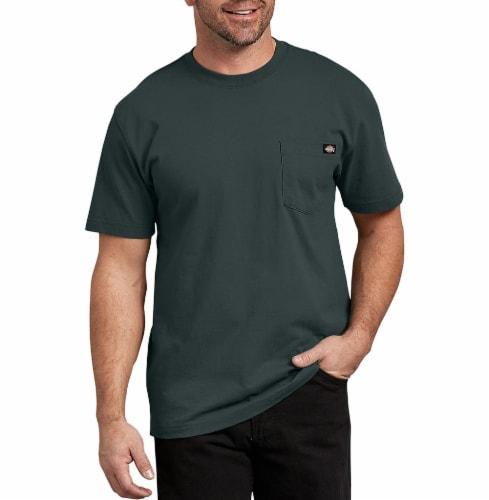 Dickies Men's Heavyweight Short Sleeve T-Shirt - Hunter Green Perspective: front
