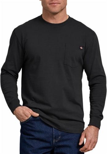 Dickies Men's Heavyweight Long Sleeve Crew Neck T-Shirt - Black Perspective: front