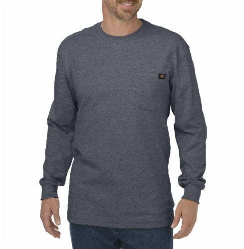 Dickies Men's Heavyweight Long Sleeve Crew Neck T-Shirt - Charcoal Perspective: front