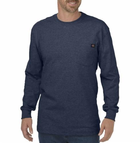 Dickies Men's Heavyweight Long Sleeve Crew Neck T-Shirt - Dark Navy Perspective: front