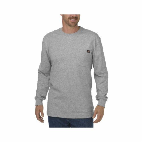 Dickies Long Sleeve Heavyweight Crew Neck T-Shirt - Heather Gray Perspective: front