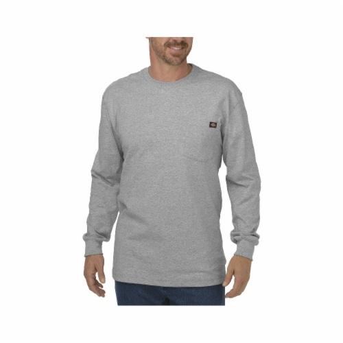 Dickies Men's Heavyweight Long Sleeve Crew Neck T-Shirt - Heather Gray Perspective: front