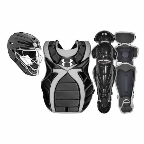 Under Armour Women's Victory Series Softball Catcher Gear Set, Black (Age 9-12) Perspective: front