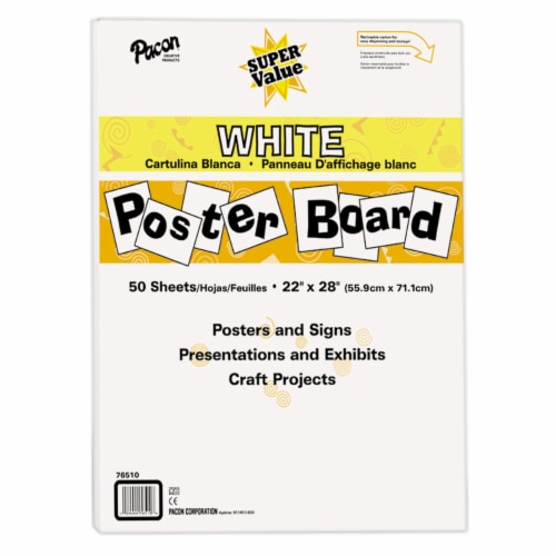 Pacon Super Value Poster Board - 50 Sheets - White Perspective: front
