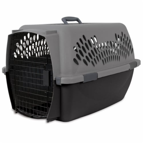 Aspen Pet Porter 26 Inch Hard Sided Travel Crate Carrier Kennel, Black and Gray Perspective: front